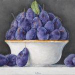 Albino Rossi, Prugne nella Ciotola 2006, olio su tela, 30x70 cm