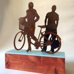 Corrado Zeni, Two strangers, ferro, legno, smalto, 30x32x9 cm