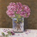Albino Rossi, Rododendri nel bicchiere 2019, olio su tela 30x25 cm