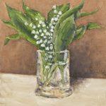Albino Rossi, Mughetti nel bicchiere 2020, olio su tela 30x25 cm